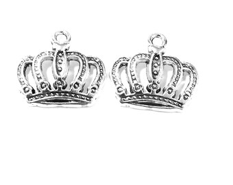 30PCS Crown charms pendant---12x18mm Antique silver DIY jewelry handmade base material