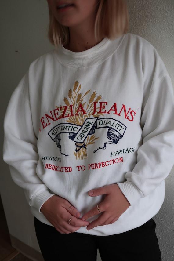 Vintage Sweatshirt // Vintage Denim // Embroidered