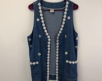 vtge boho vest-sleveless vest sweater vest-sea green background-abstract design-casual wear-size M-55/% ramie-cotton