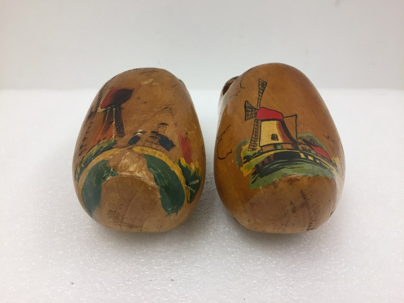 Made in Holland Hand Painted Wooden Clog Shoes 7.5 Collectible Vintage Vtg Wood Footwear Netherlands Decorative Home Decor