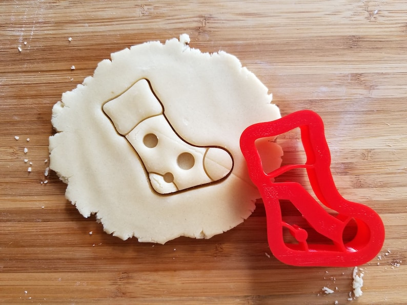 Christmas Stocking Poka Dot Cookie Cutter 3d Printed With Sharp Edges Sugar Cookies Cookie Decorating Fondant Cupcake