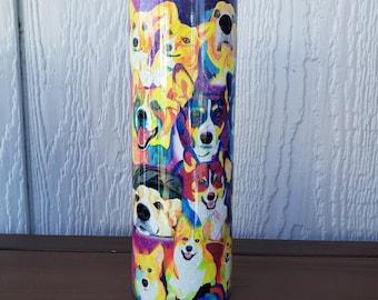 Corgi Tumbler for Mom, Corgi Cardigan, corgi tricolor, dog keepsake, to go coffee cup, Fall Tumbler, Pembroke Welsh, Travel mug dog picture