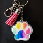 Paw portrait keychain, Custom paw portrait, Watercolor paw portrait, Dog Art, Cat Art, Pet Memorial, rainbow paw keychain, rainbow art paw