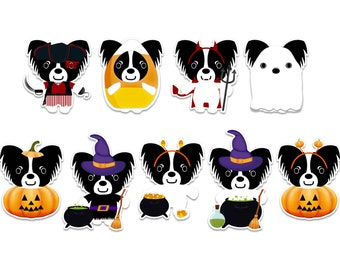 Papillon Halloween sticker pack, cute ghost dog, witch stickers, vampire decal, pirate stickers, pumpkin stickers, spooky halloween stickers