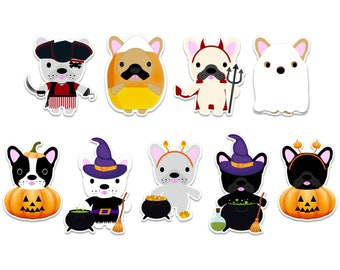 cute Halloween sticker set, Halloween dog stickers, French bulldog stickers, dog lover gift for kids Halloween party favors, cute notebook