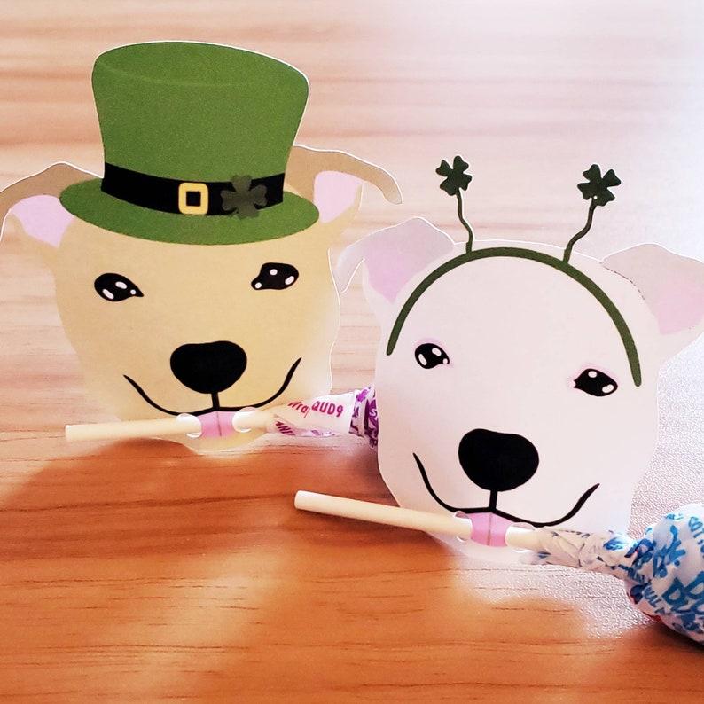 Lollipop St. Patricks Day holder Treat card Pitbull lollipop image 0
