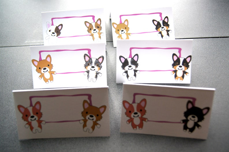 Corgi Birthday Party in a Box Birthday Decor Place cards image 0