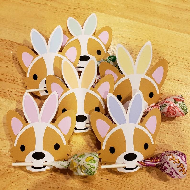 Corgi Bunny Ears Easter Lollipop holder Treat card Corgi image 0