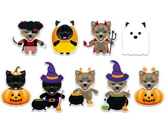 Yorkie Dogs Halloween stickers pack, ghost dog, witch stickers, vampire decal, pirate stickers, pumpkin stickers, spooky halloween stickers