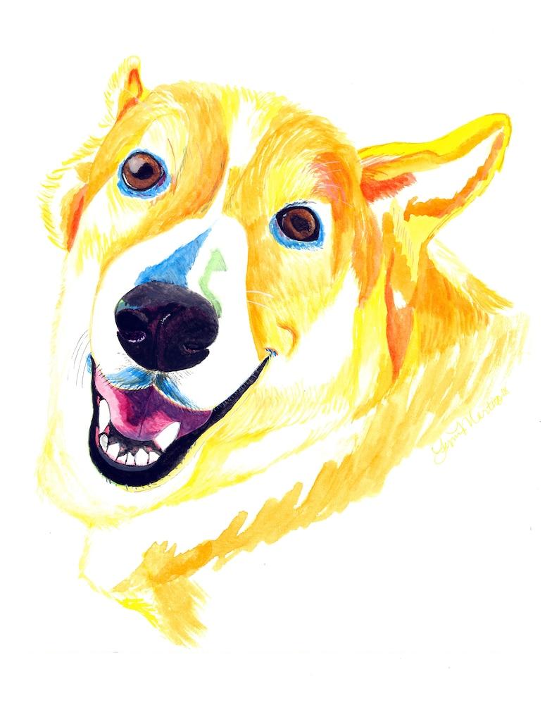 Custom pet painting Custom pet portrait watercolor corgi image 0