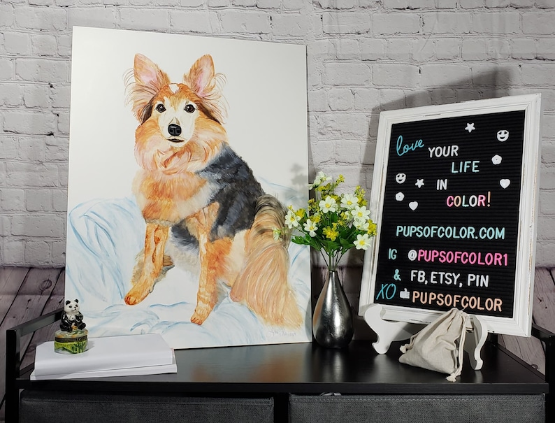 Custom pet portrait watercolor painting from photo Dog image 0