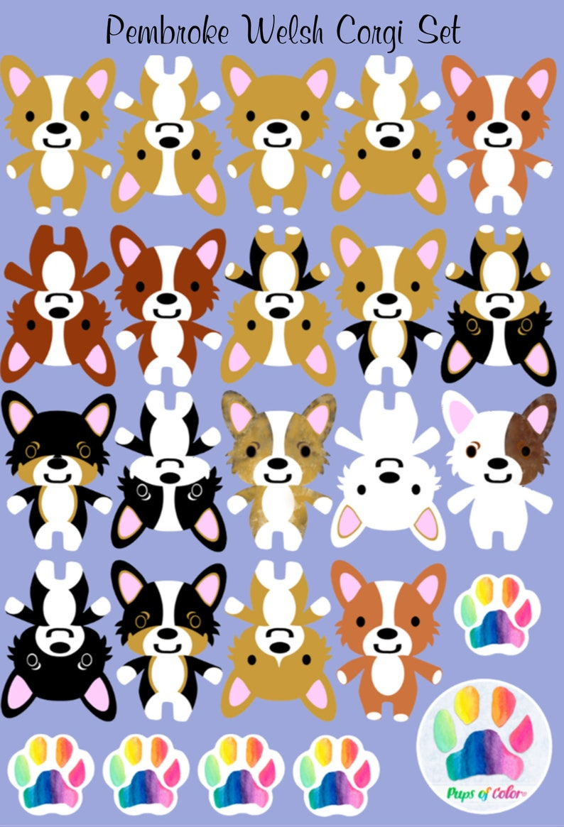 Corgi Sticker set Corgi vinyl decal set Pembroke Welsh Corgi image 0