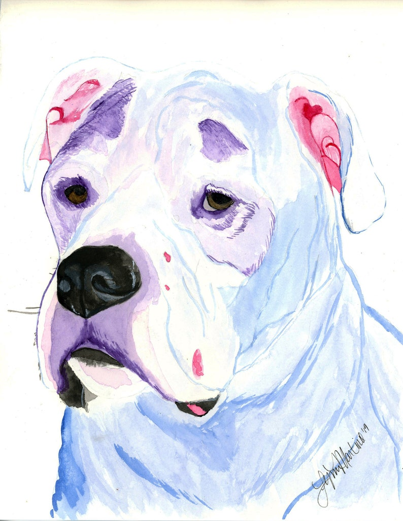 Custom pet portrait watercolor dog painting from photo Dog image 0