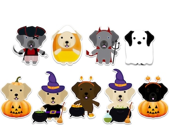 Labrador Halloween sticker pack, ghost dogs, witch stickers, vampire decal, pirate stickers, pumpkin stickers, spooky halloween stickers