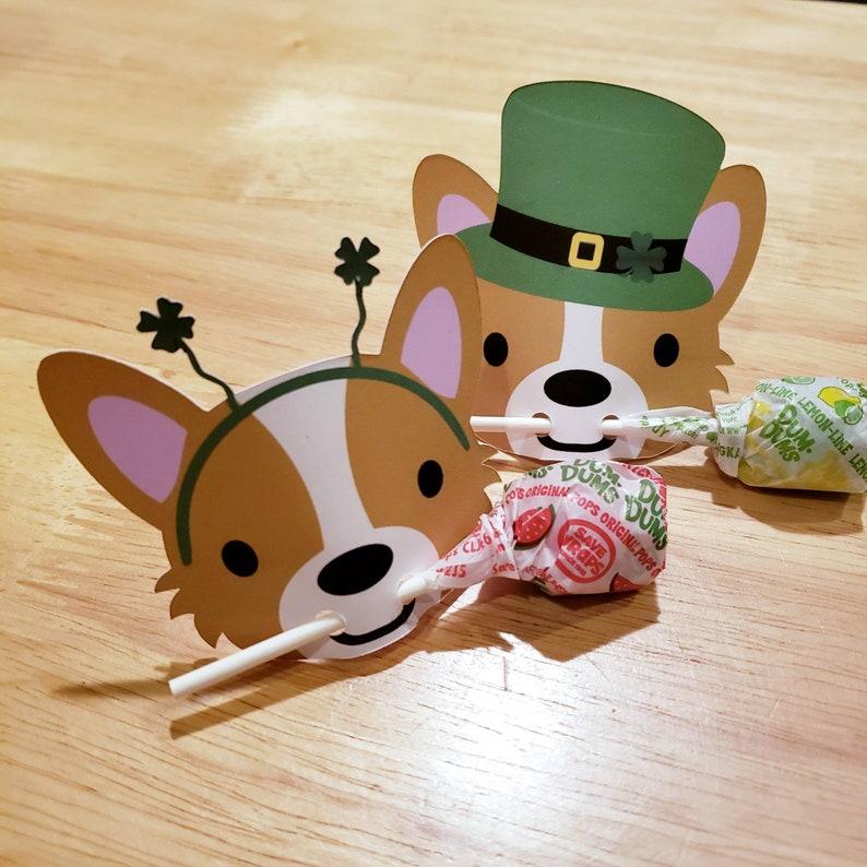 Lollipop St. Patricks Day holder Treat card Corgi lollipop image 0