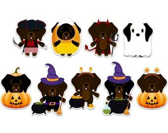 Dachshund decal, Halloween sticker pack, ghost dog, witch sticker, vampire decal, pirate sticker, pumpkin sticker, spooky halloween sticker