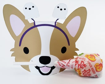 Cardigan or Pembroke Welsh Corgi Halloween Lollipop Holder Party Favor Theme Card Tag, Spooky Trick or Treat candy holder, Kids party supply