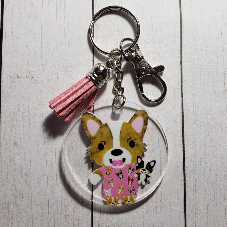 Corgi Keychains Holiday Ornaments and Keychains Vinyl Pink Nightgown