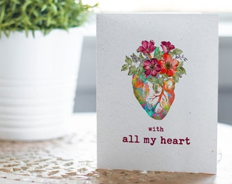 With All My Heart Plantable Greeting Card that Grows Wildflowers | Send a Greeting Card | Thinking of You | Valentine's Gift