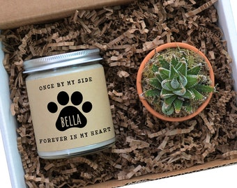 Pet Memorial Gift Personalized Soy Candle and Succulent Pet Loss Sympathy Gift | Once By My Side, Forever in My Heart | Dog Paw Print Name