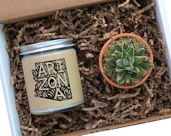 Arizona Personalized Soy Candle, Succulent Gift, Homesick Gift, Moving, College Student Gift, Missing You, Missing Home, Arizona Candle Gift