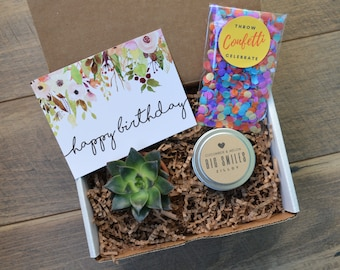 Happy Birthday Gift Box Succulent Soy Candle Confetti Her Best Friend Ideas