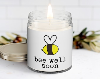 Bee Well Soon Personalized Soy Candle | Get Well | Best Friend Gift | Thinking of You | Feel Better Gift | Pun Candles