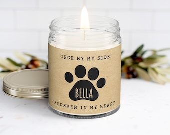 Pet Memorial Gift Personalized Candle Sympathy Pet Loss Gift | Once By My Side, Forever in My Heart | Dog Puppy Paw Print and Name