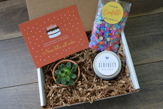 Happy Birthday Gift Box Succulent Gift Box Soy Candle