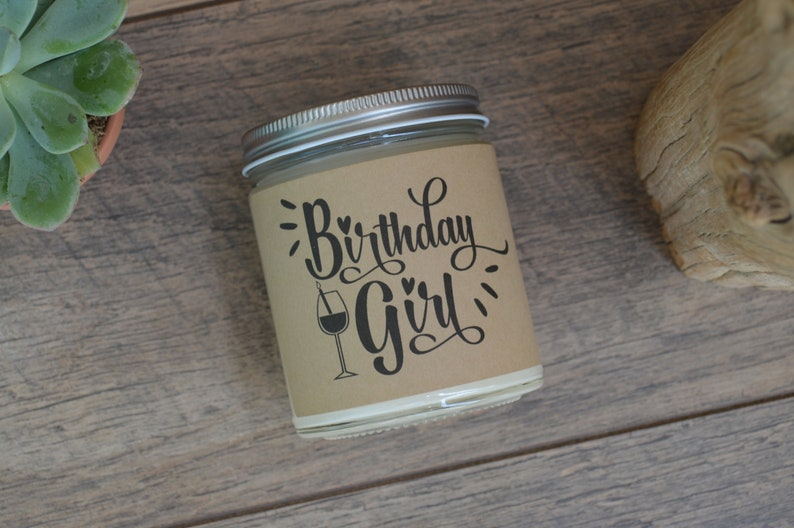 Birthday Girl With Wine Glass Personalized Candle Gift Soy