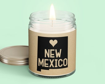 New Mexico Personalized Scented Soy Candle - Homesick Gift - Moving - College Student - Missing You - Missing Home - New Mexico Care Box