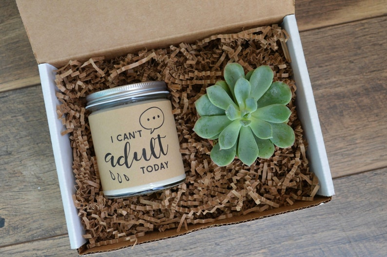 Personalized Candle Gift I Can/'t Adult Today Gift Box Girlfriend Gift Soy Candle Humor Fun Best Friend Gift Succulent Gift
