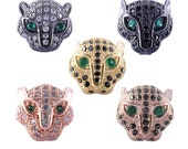 CZ Micro Pave Leopard Beads,Cubic Zirconia Spacer Beads, Copper Spacer Bead DIY Bracelet Jewelry Findings Accessories