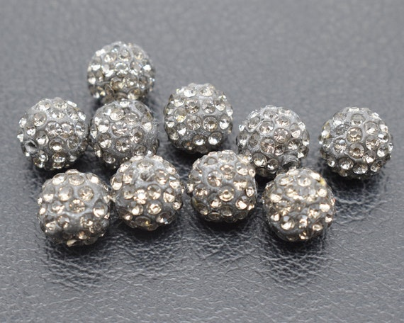 100 Pcs Cz Crystal Shamballa loose Beads Pave Disco Balls 10MM rose red