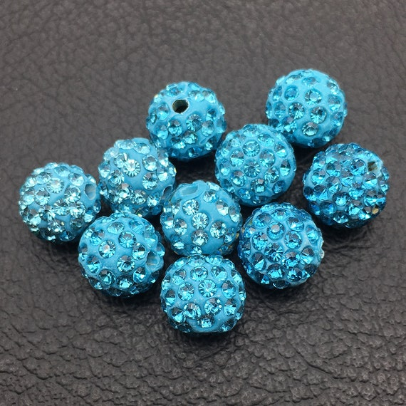 20 PCS AAA Pave Disco CZ Crystal Shamballa Beads Spacer 10mm choose 30 Colors