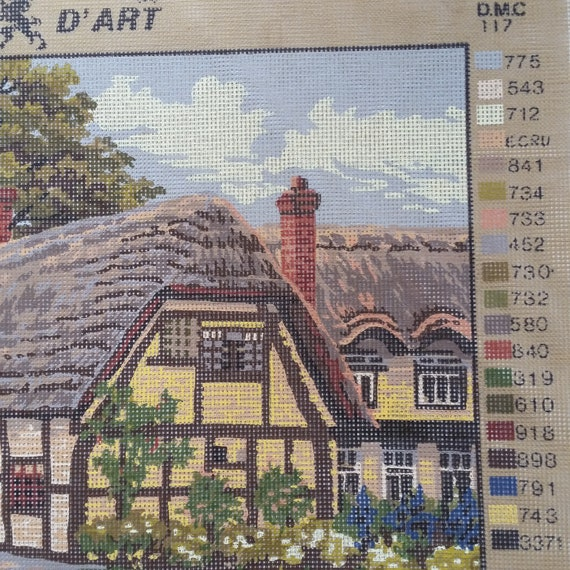 English Country Village Thatched Cottages Tapestry  Needlepoint Canvas