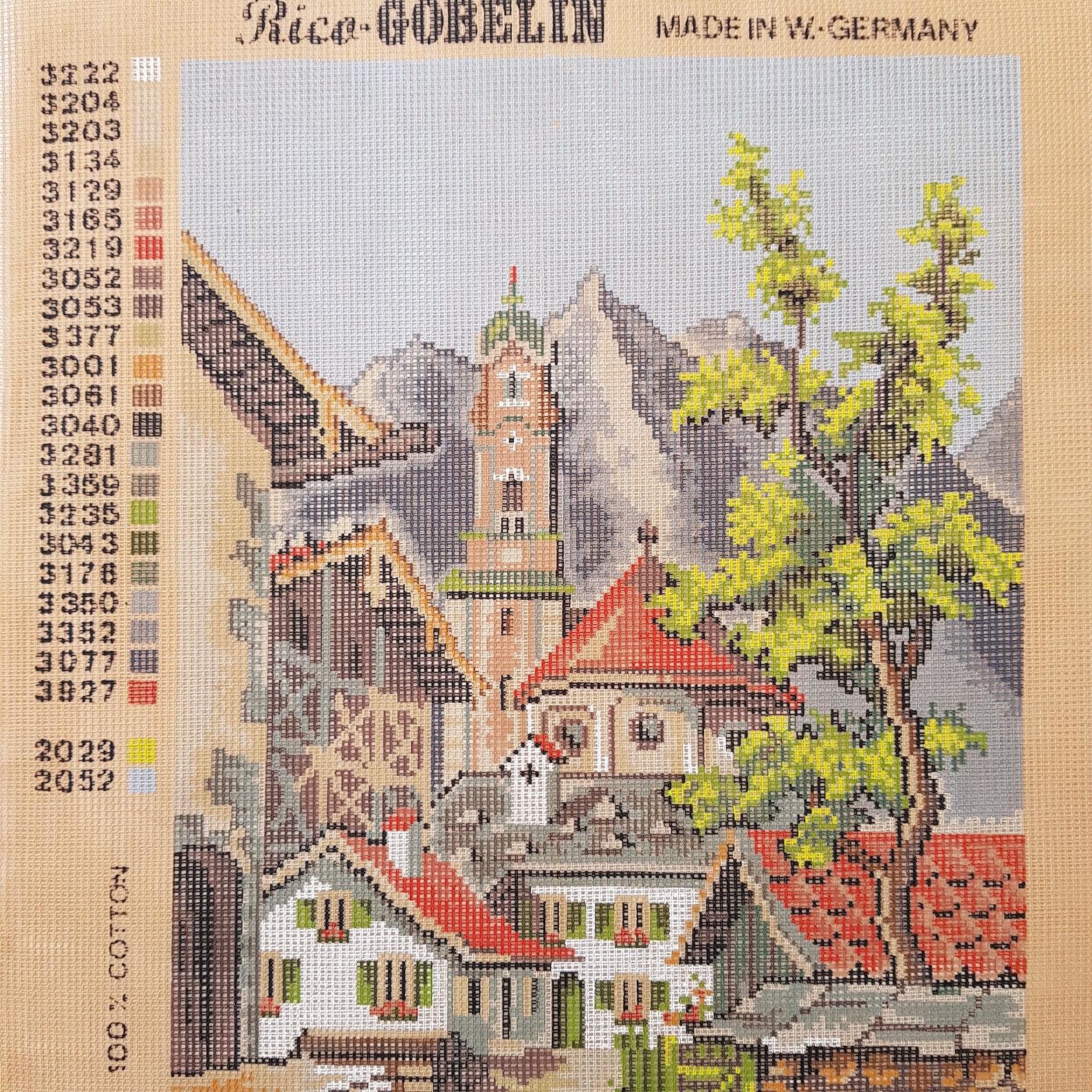 Gobelin tapestry canvas German village Mittenwald vintage