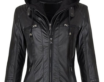 Handmade women Black Lambskin Top Leather Jacket warm Quilted Hooded