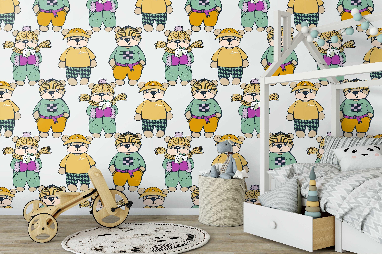 Nursery Bears Wallpaper Bear Wallpaper Wallpaper Temporary Etsy