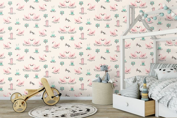 Nursery Swan Wallpaper Swans Wallpaper Wallpaper Temporary Wallpaper Kids Wallpaper Nursery Decor Wall Mural Girls Wallpaper
