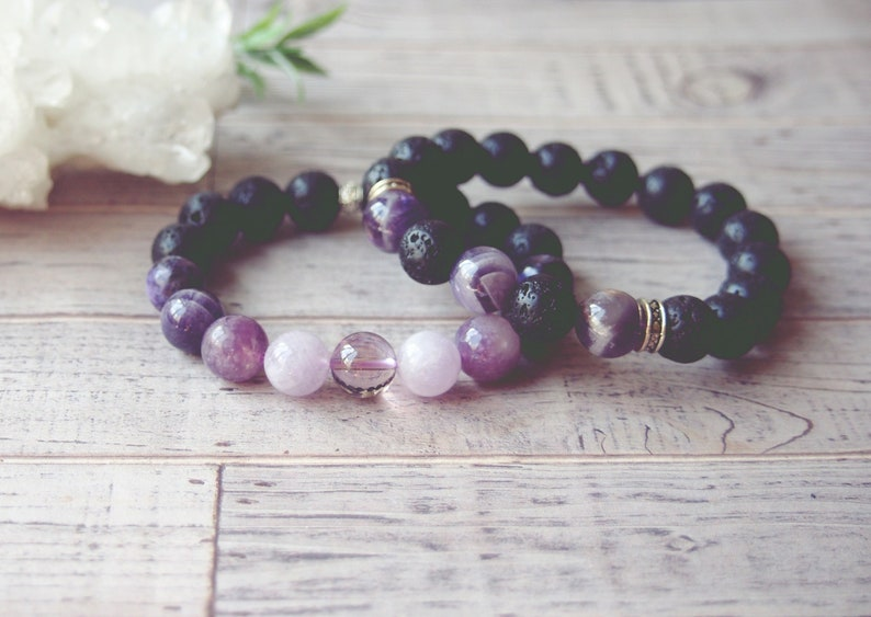 Aromatherapy Gemstone Bracelet Gifts for him. Gifts for her Purple Crystal Healing Jewelry Essential Oil Diffuser Bracelet