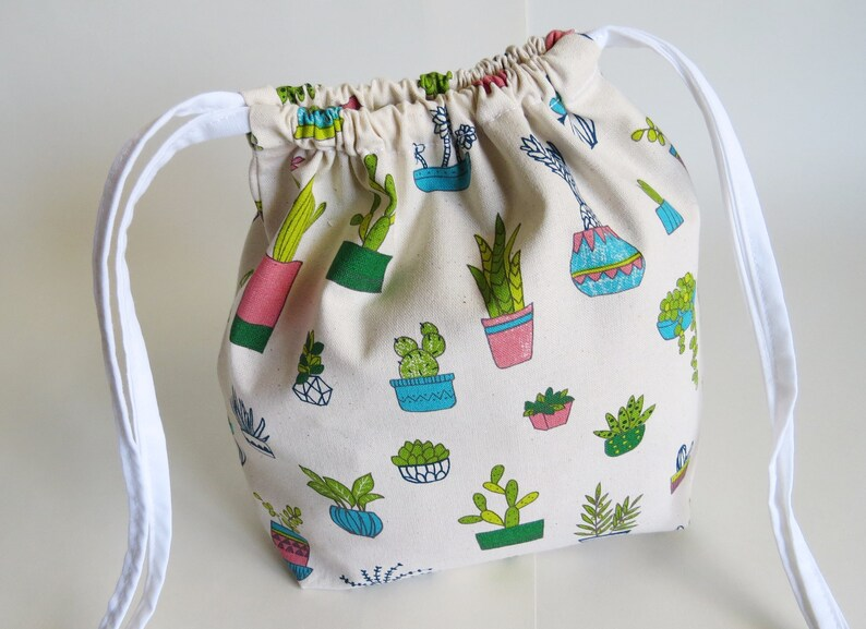 cotton bag knitting bag project bag ecofriendly bag. travel bag Succulent plants cotton drawstring bag
