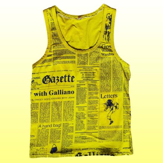 Galliano Gazette yellow tank top