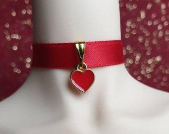 Adornment ras collar nylon earrings pearls red nacrees bordeaux