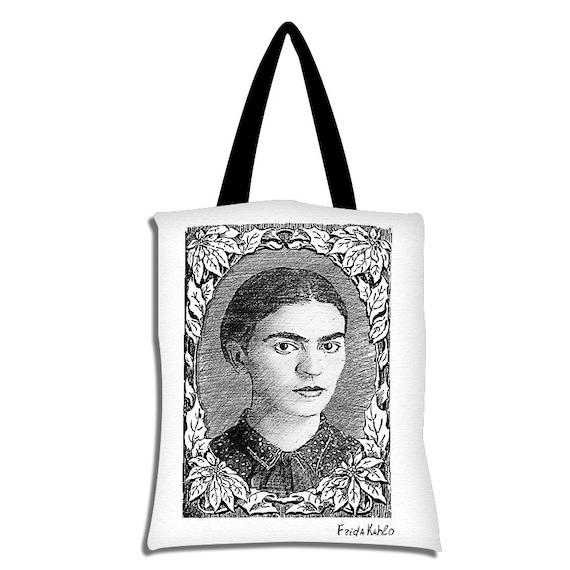 Tote Bag Frida Kahlo pencil drawing vintage frame black and | Etsy