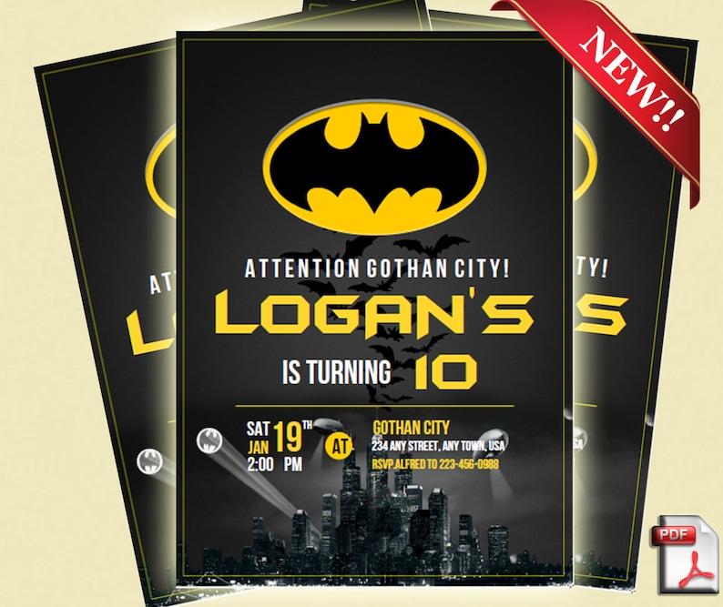 Batman Invitation Birthday Party Superhero
