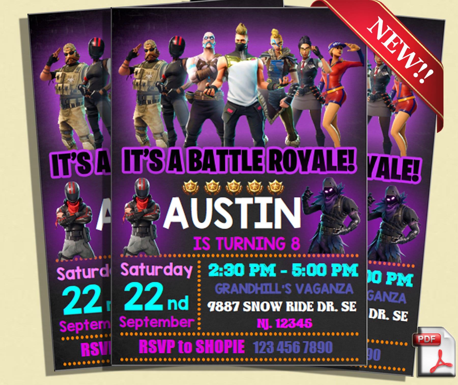 Fortnite Birthday Party Invitationfortnite Invitefortnite Etsy