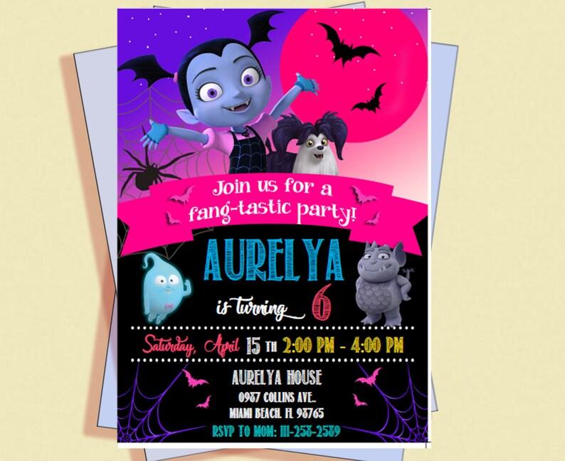 Editable Vampirina Invitation Birthday Party PDF Printables Theme