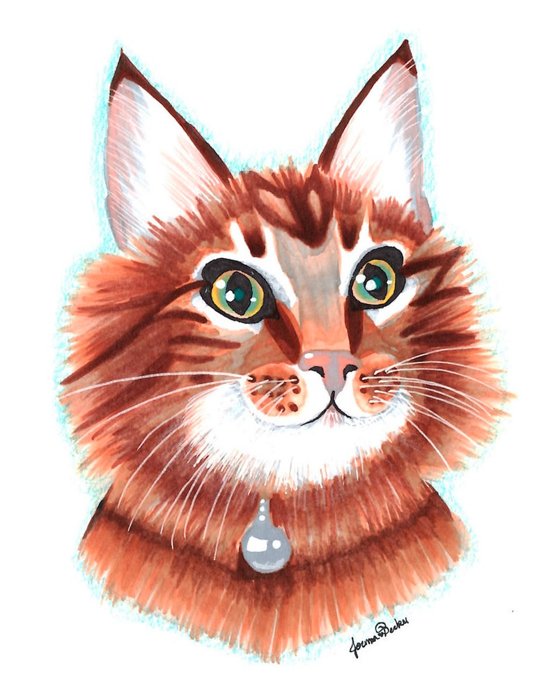 Maine Coon Cat Art Print - Copic Marker Illustration - Adorable Kitten  Artwork - Pet Portrait - High Quality Matte Print - Cute and Pretty