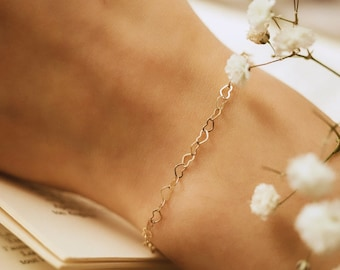 Dainty heart chain bracelet (14K gold-filled, shower safe)